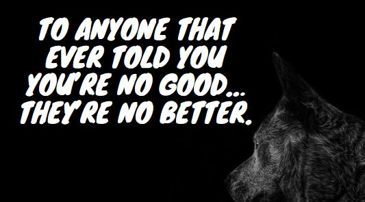 To anyone that ever told you you're no good… They're no better. haters quotes